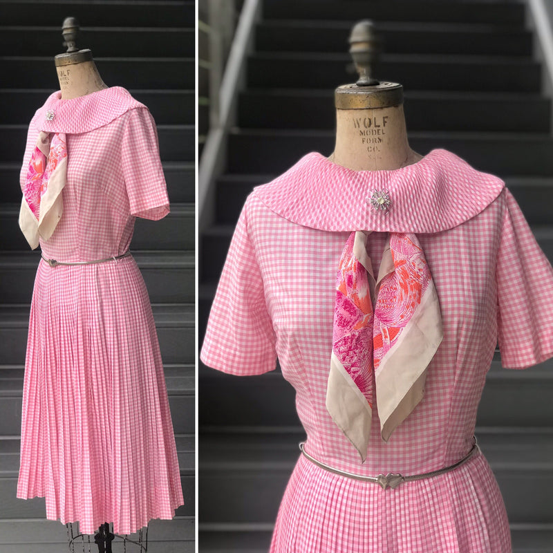 1960s Pink Pleated Collar Gingham Day Dress