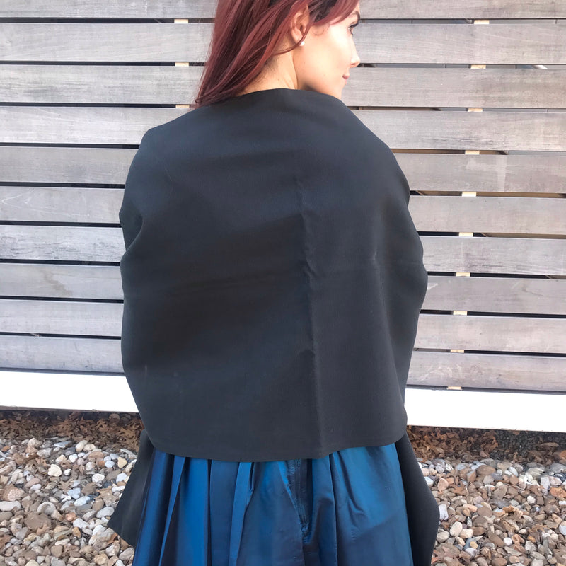 1950s Black Shawl Wrap with Giant Pockets