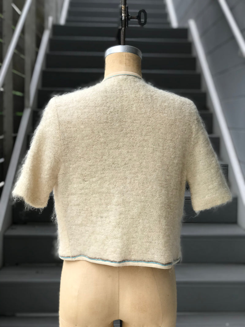 1960s Cream Wool and Mohair Short Sleeve Sweater