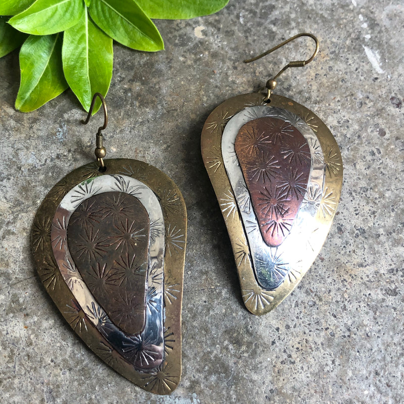 Etched Tri-Tone Dangle Earrings