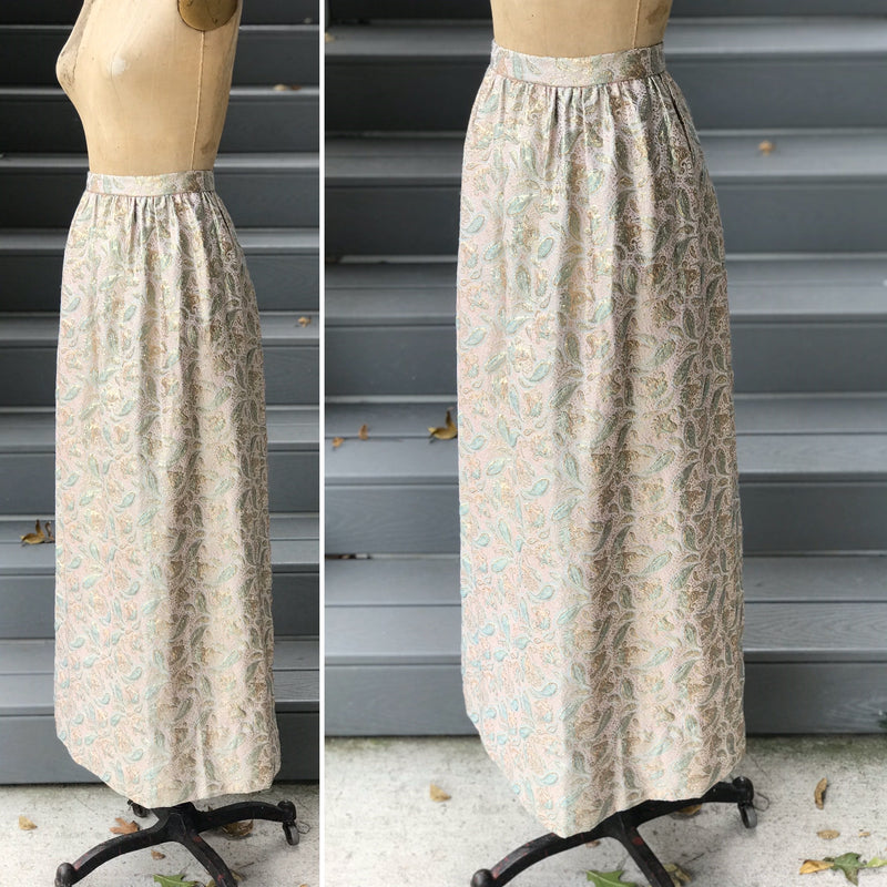 1960s Peri*Mint*Winkle + Gold Brocade Skirt