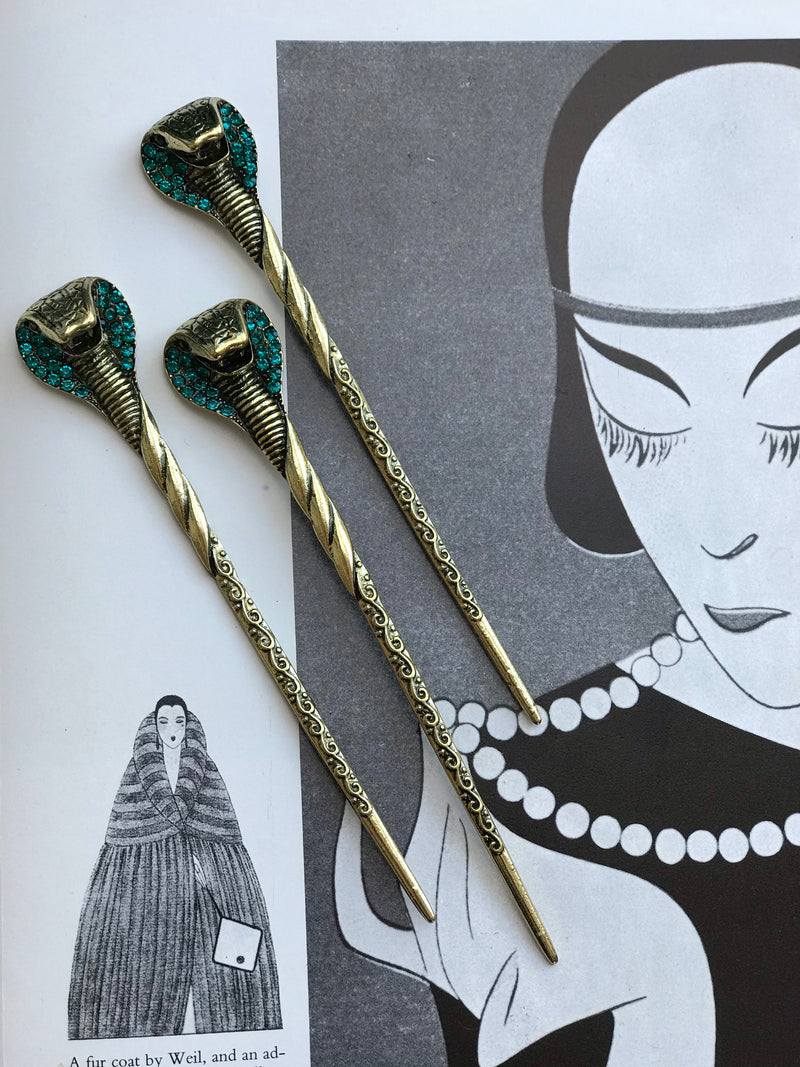 *RESERVED* Rhinestone Snake Hair Pins