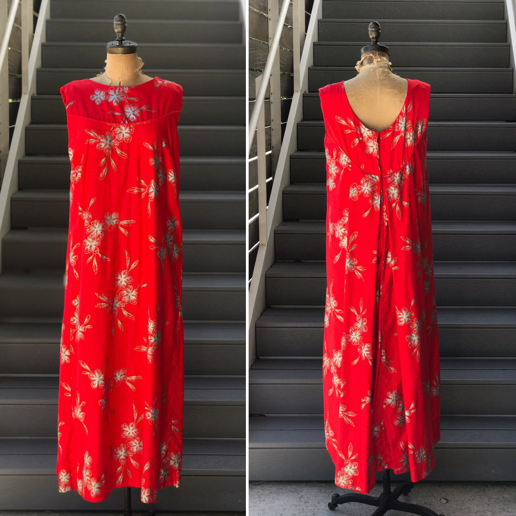 1960s Red + Metallic Floral Coattail Maxi Dress