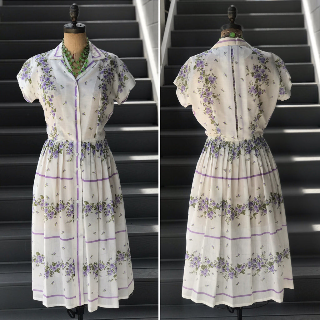 "1950s ""Meg Marlowe"" Lavender Rose Shirtdress"