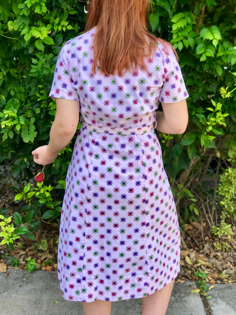 1950s Pale Pink Atomic Floral Print Day Dress
