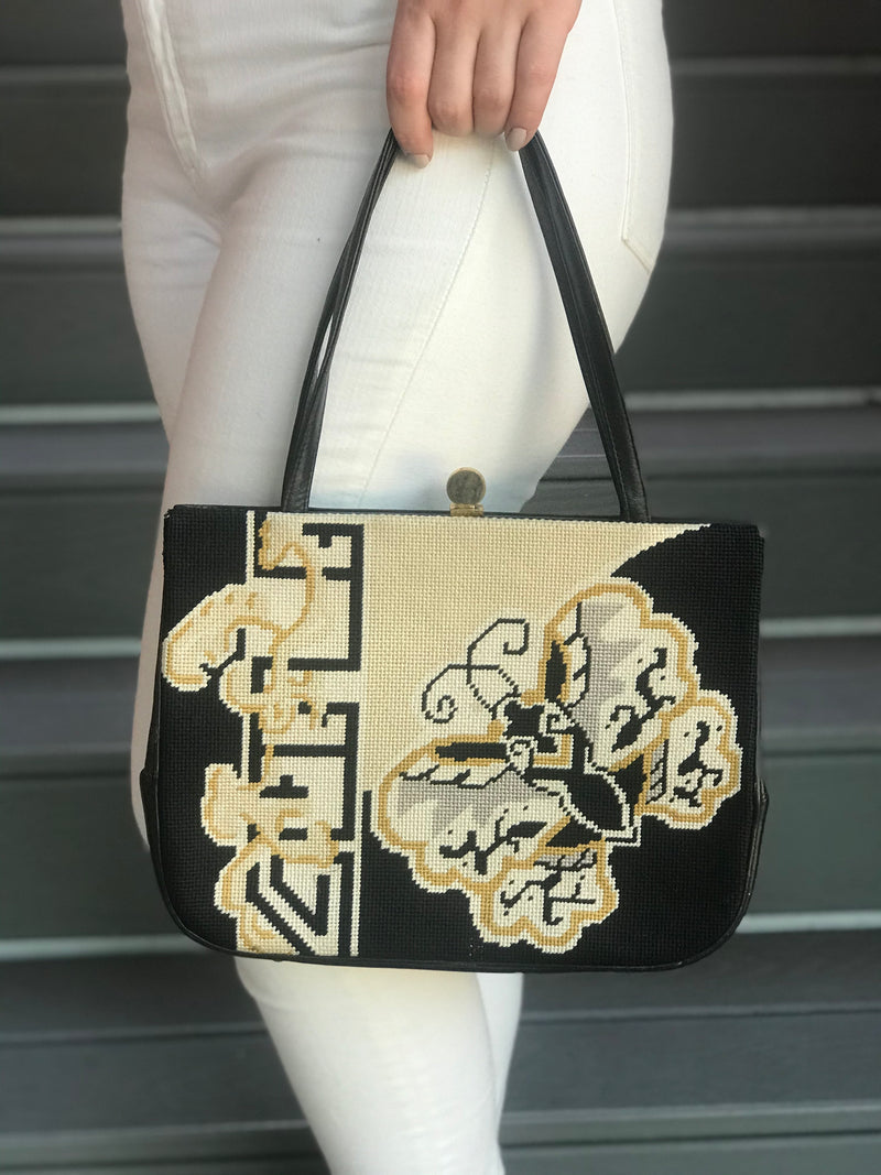 1960s Black and White Butterfly Purse