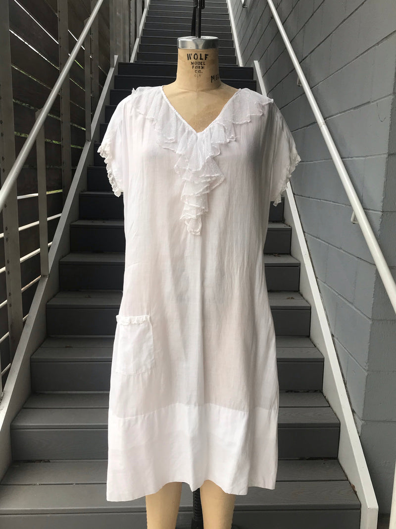1910s V-Neck Ruffle Night Gown