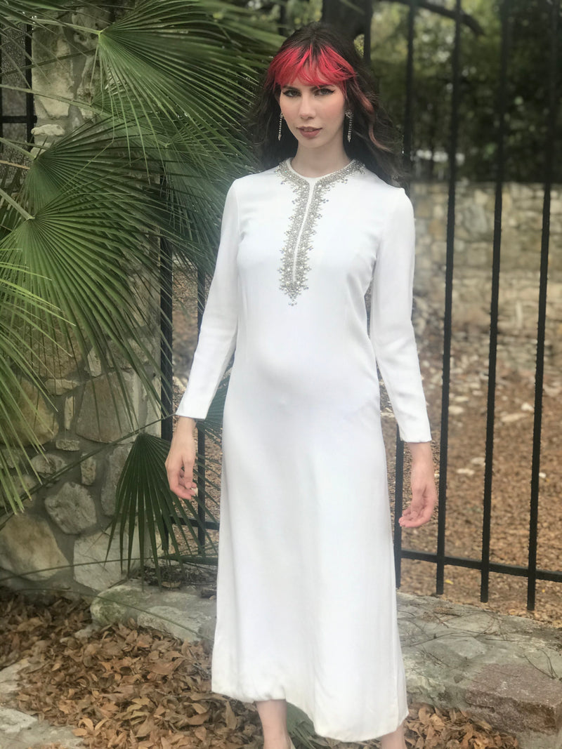 1970s Winter White Crepe Beaded Long Sleeve Dress