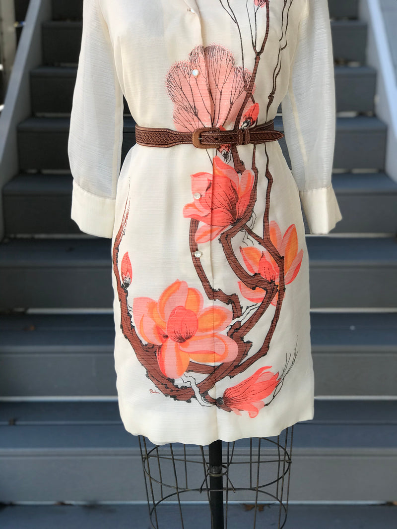 "1960s ""Alfred Shaheen"" Cherry Blossoms Shirtdress"