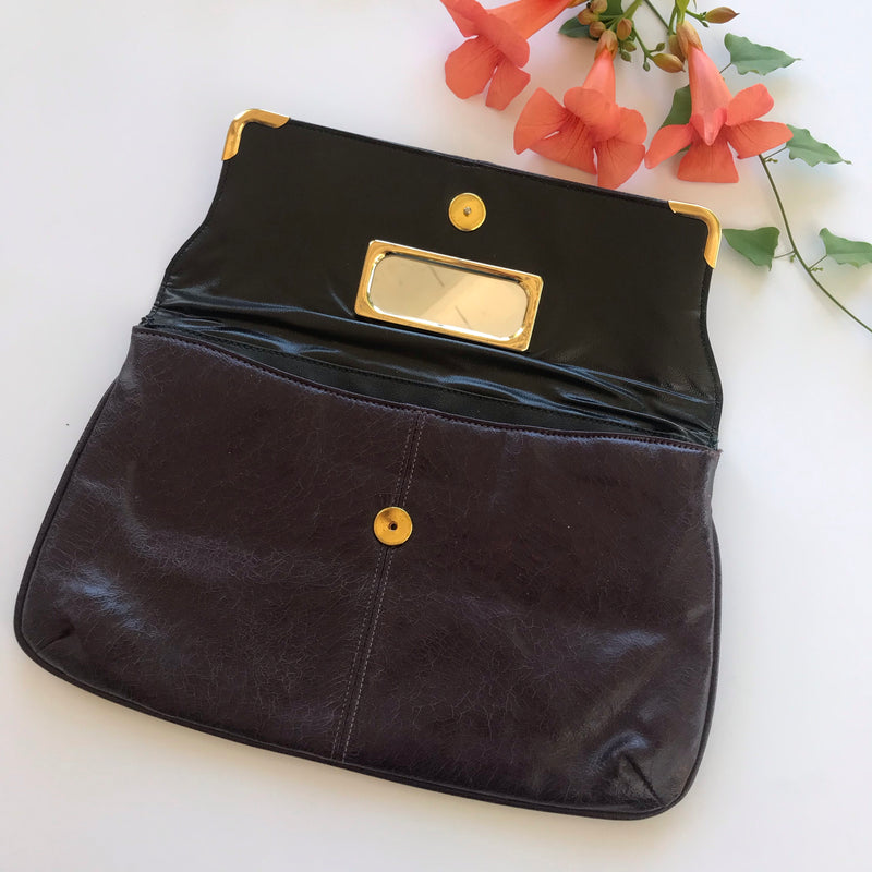 1980s Eggplant Purple Envelope Clutch Purse