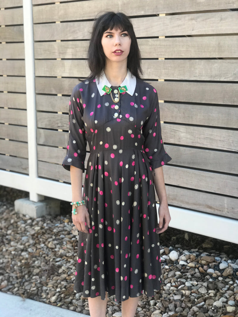 "1950s ""Girly Gemspots"" Printed Day Dress"
