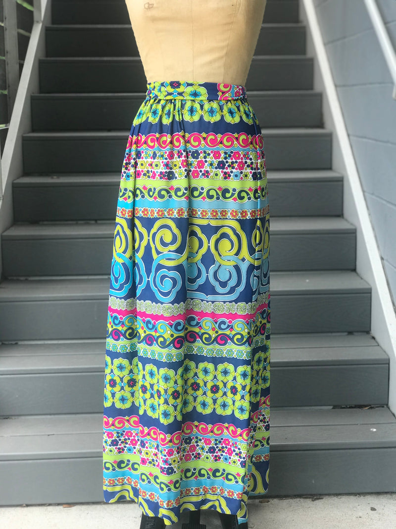 1970s Bright Floral Maxi Skirt