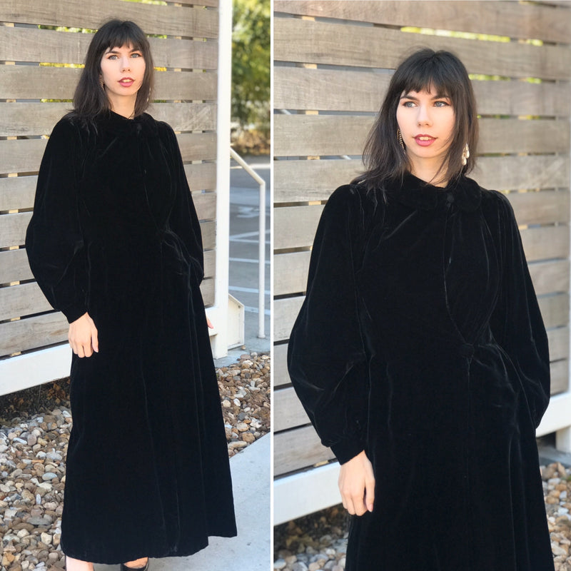 1930s Full Velvet Black Opera Coat