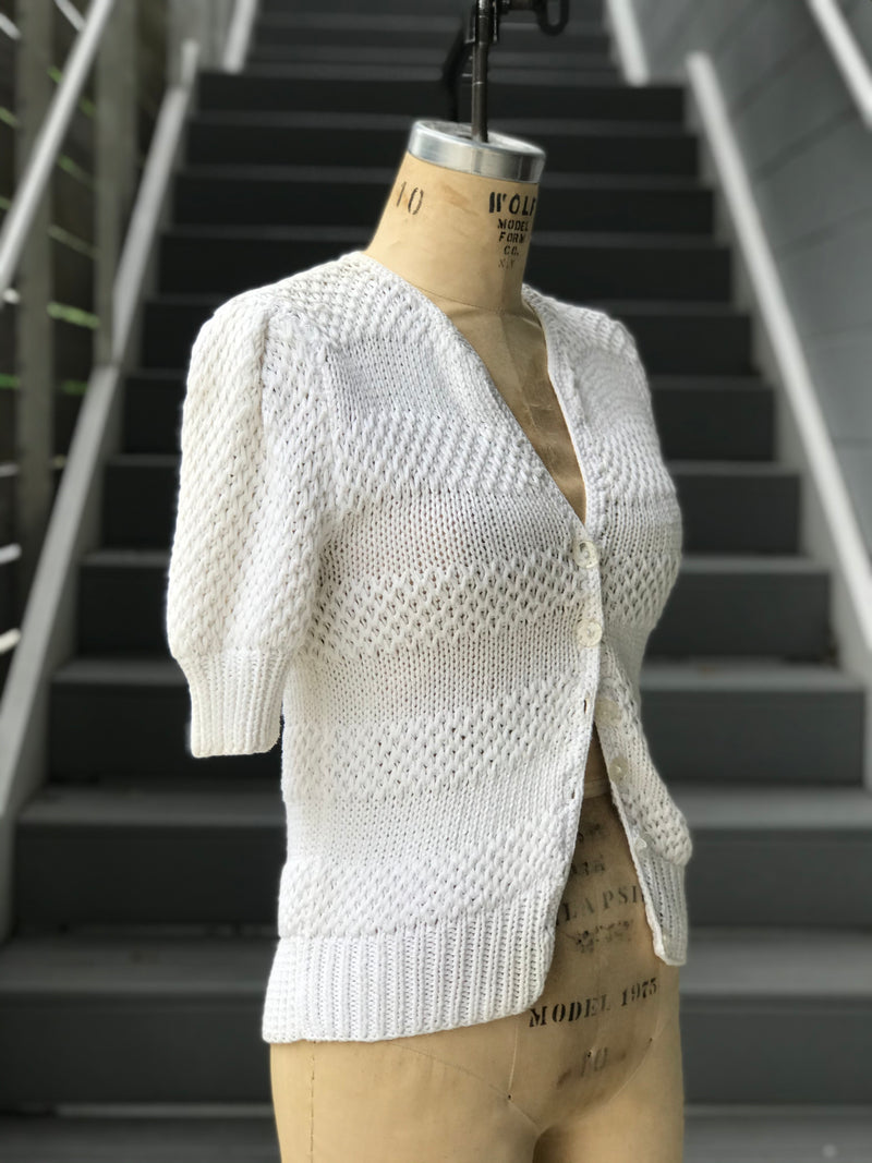 1940s White Short Puff Sleeve Sweater