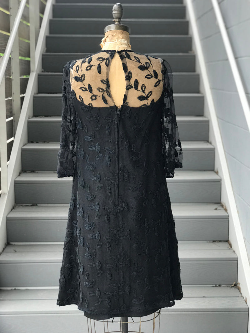 1970s Embroidered Black Chiffon Shift Dress
