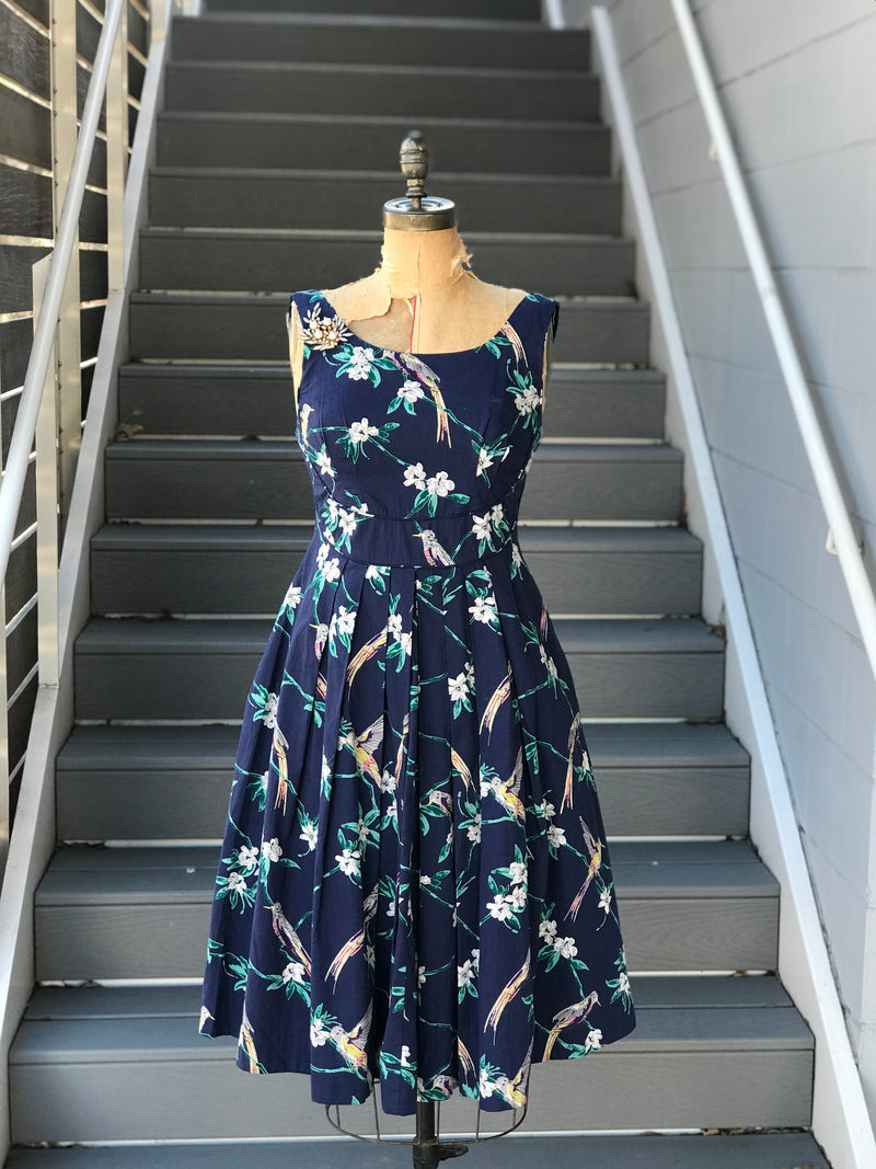 50s Style Navy Blue Floral + Bird Print Dress