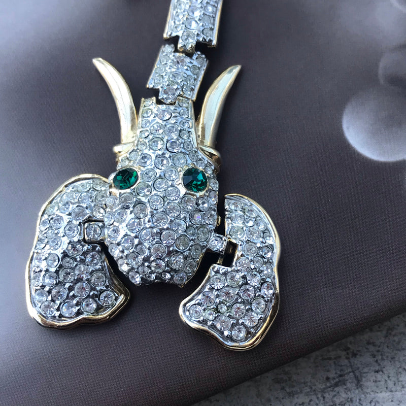 Elephant Head Rhinestone Shoulder Brooch