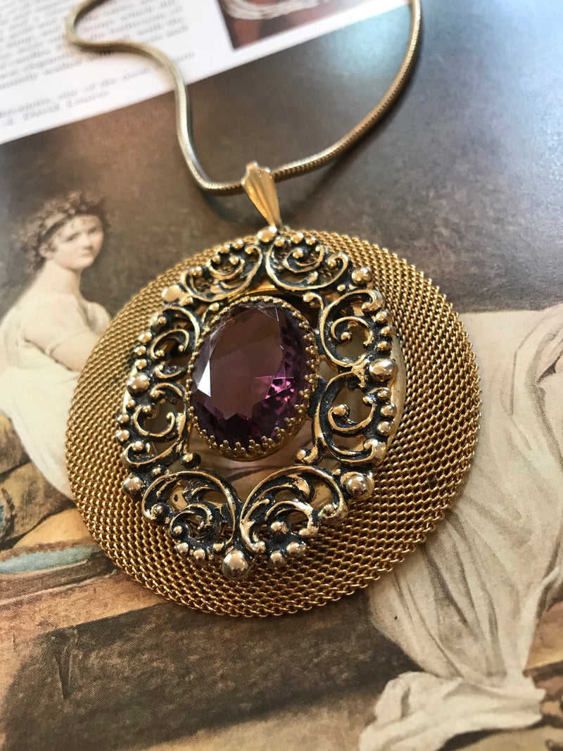 Vintage Glass + Mesh Medallion Necklace