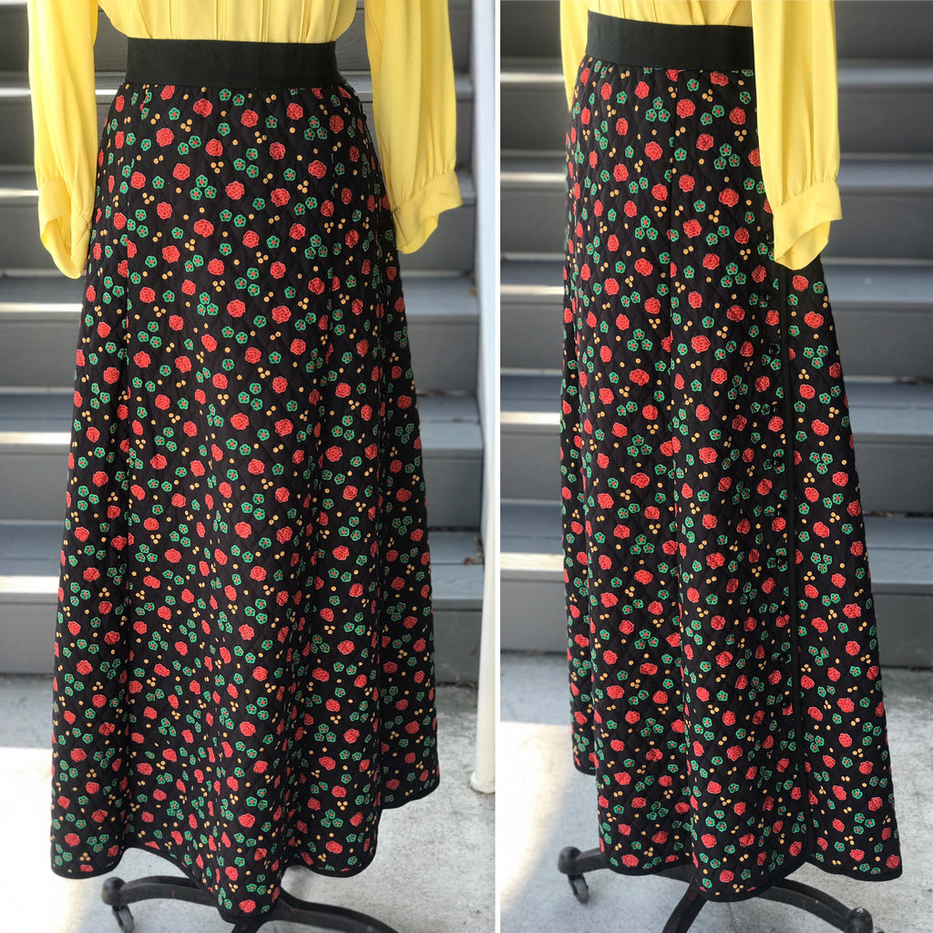 1960s Quilted Garden Floral Maxi Skirt