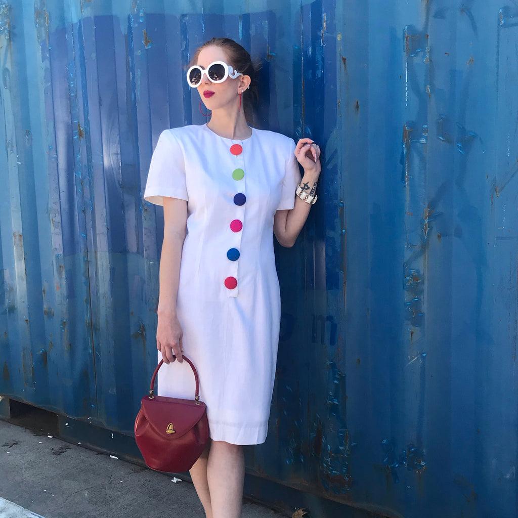 1980s White Linen Dress with Rainbow Buttons