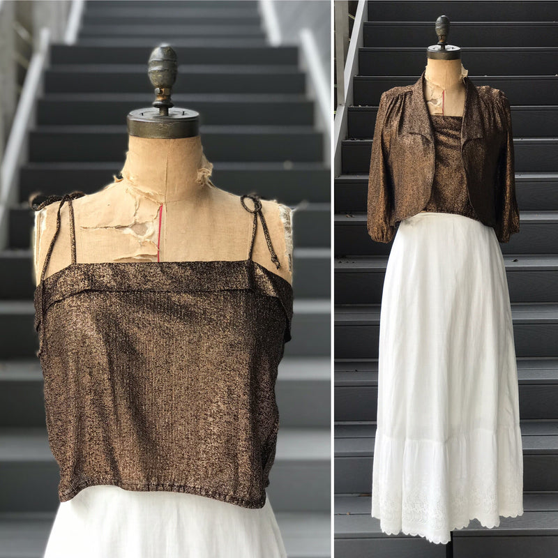 1970s Bronze Glitter Crop Top + Jacket *SET*