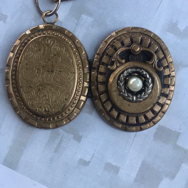 Brass Locket on BookChain Necklace