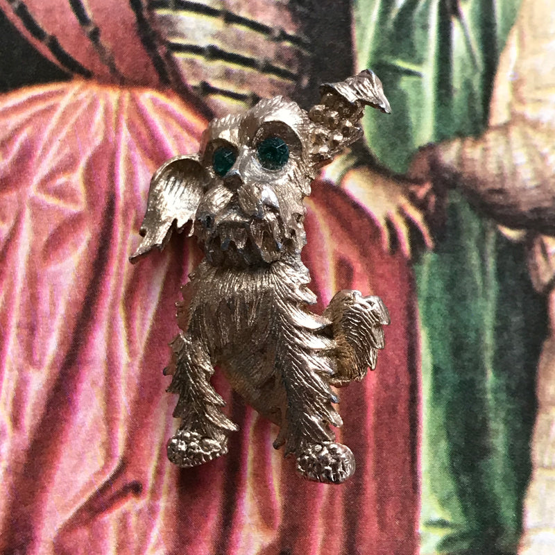 Vintage Green Eyed Terrier Dog Pin