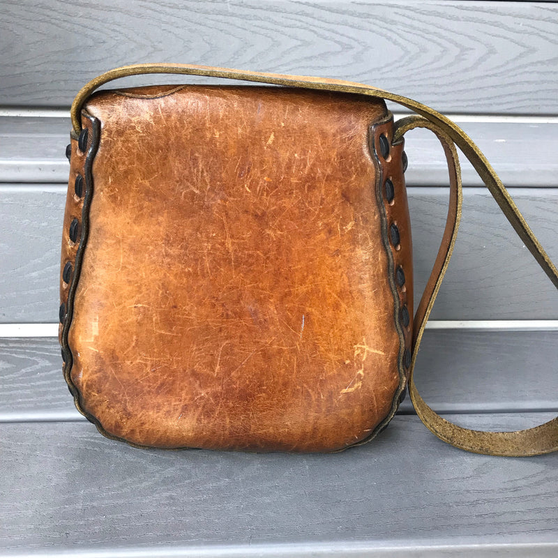 1960s Brown Leather Hippie Handbag