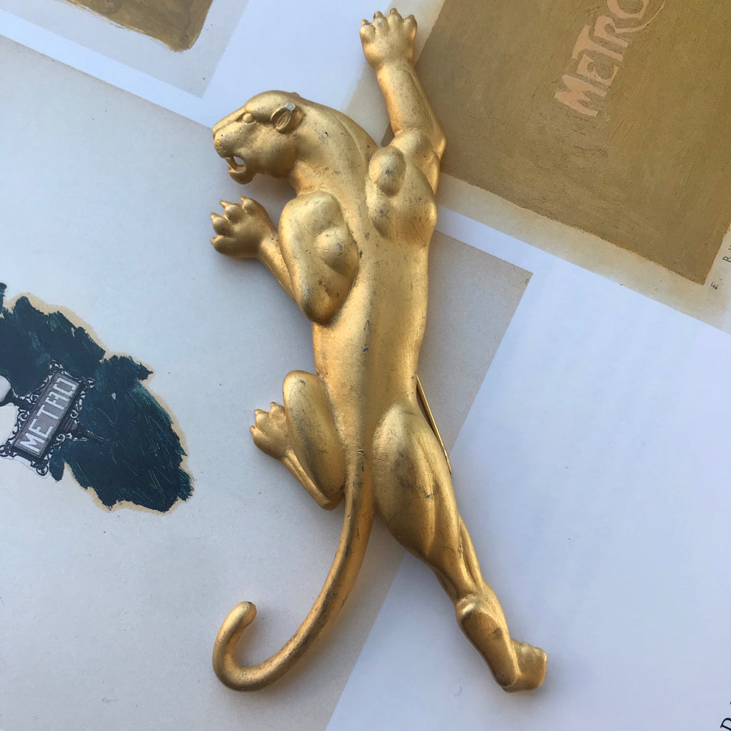 1980s Matte Gold Panther Brooch