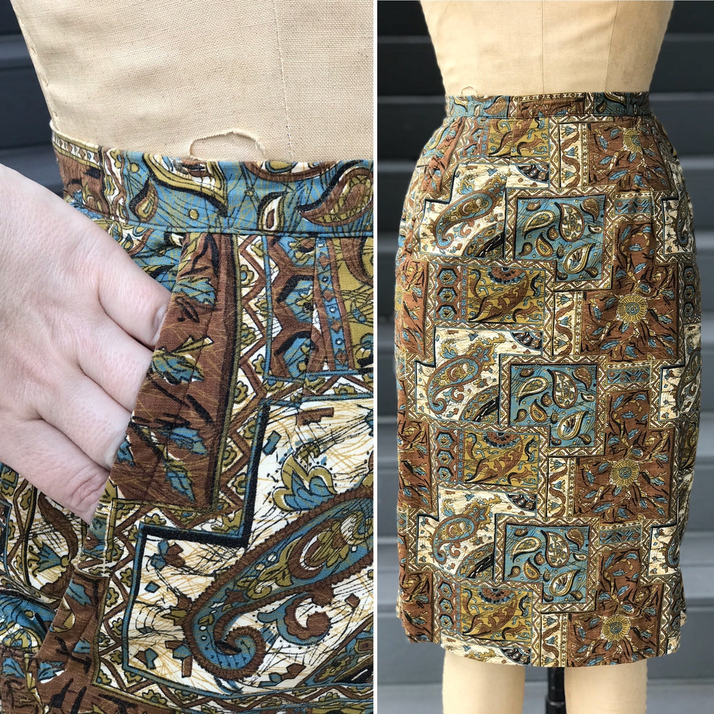 1950s Tiki Pencil Skirt