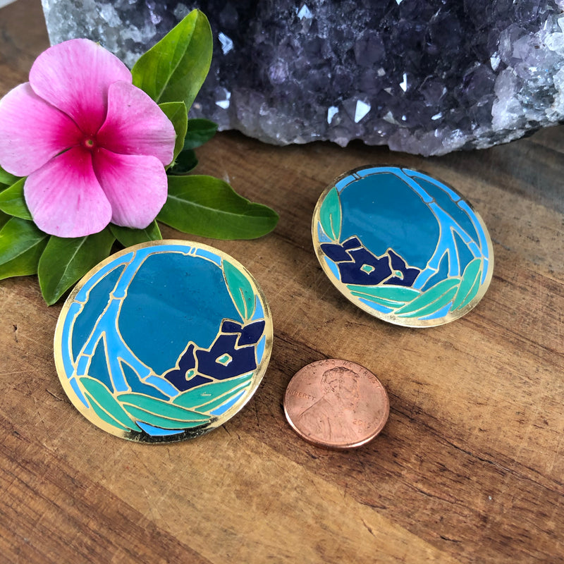 Large Round Teal Button Earrings