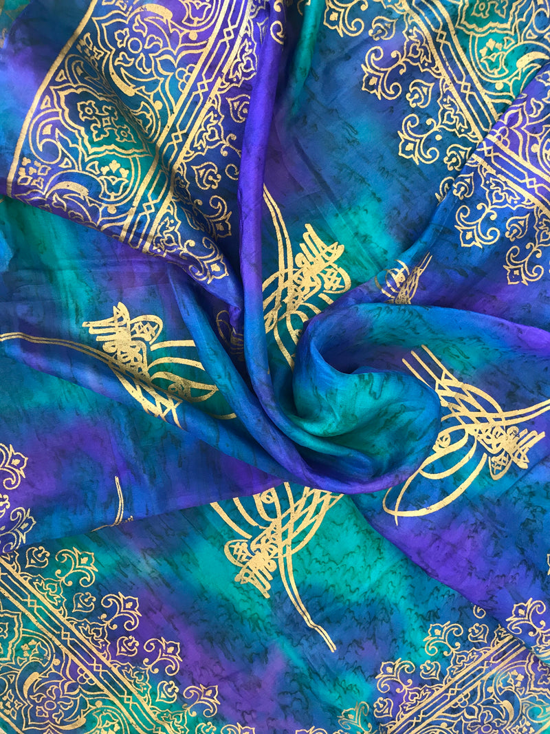 Vintage Silk Turkish Dyed Cool Tone Scarf