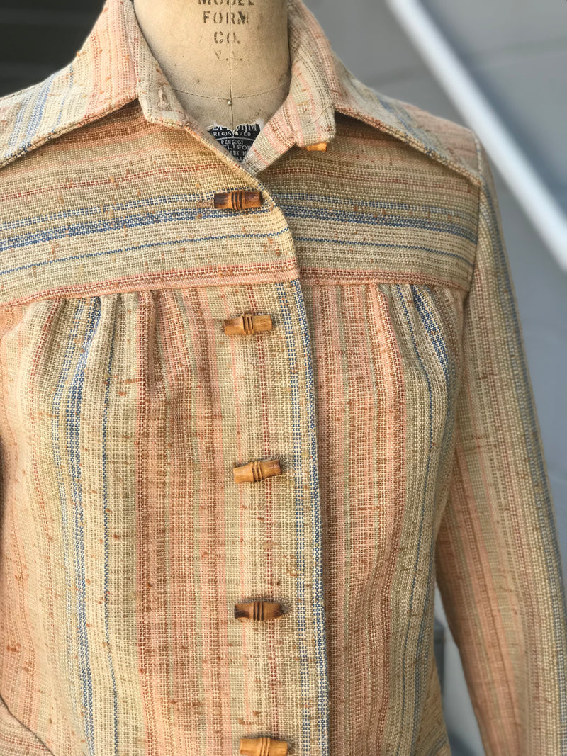 1970s Colorful Tweed + Bamboo Button Jacket