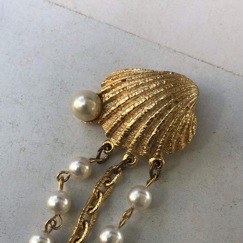 1960s Gold Fish and Shell Double Brooch