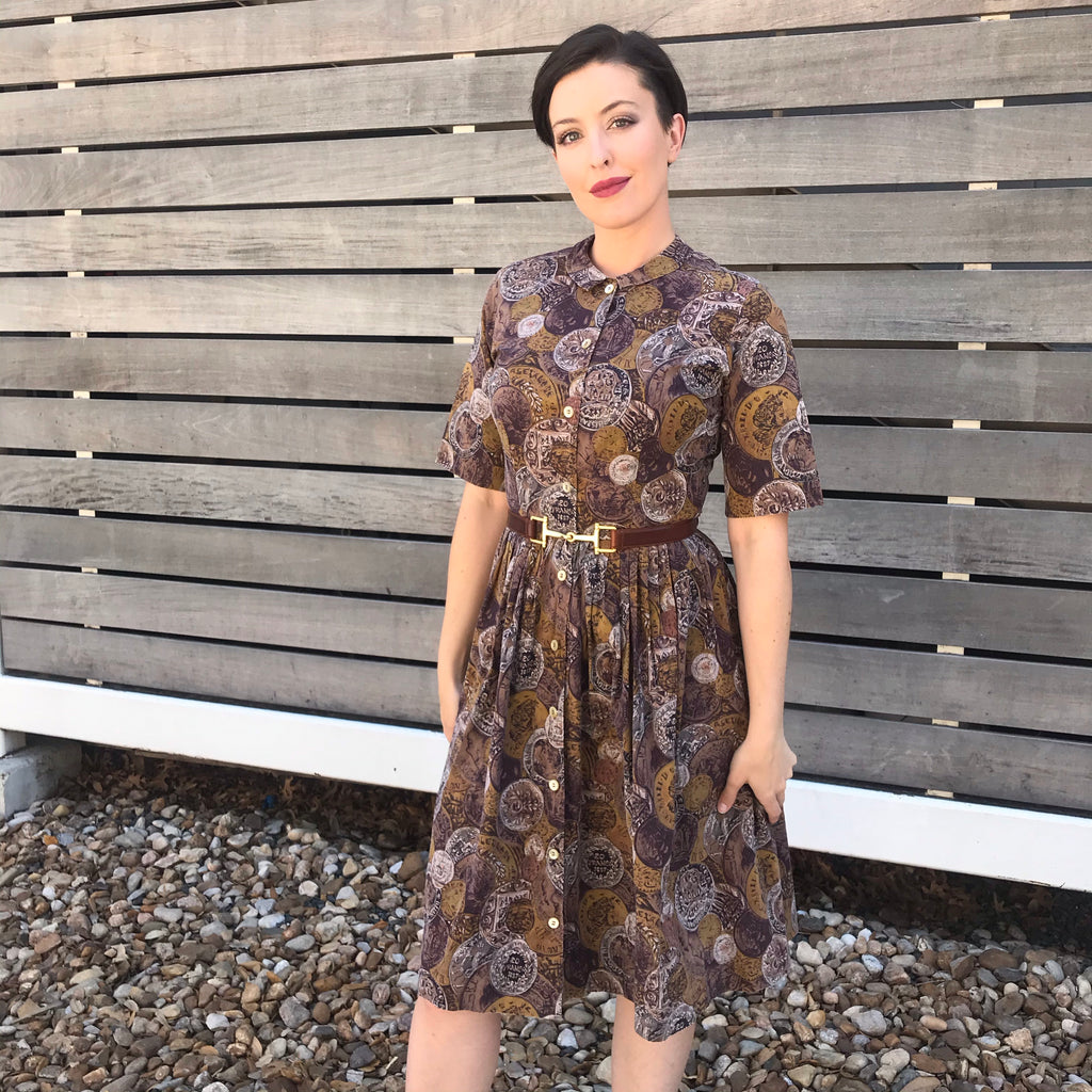"1950s ""Country Miss"" Brown Cotton French Coin Dress"
