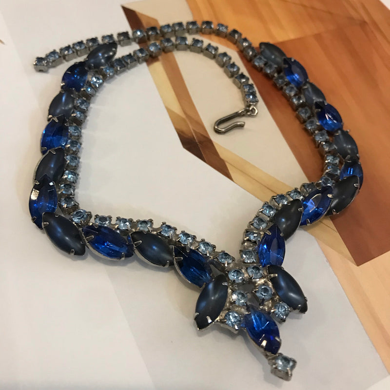 Shades of Blue Marquise Rhinestone Collar Necklace