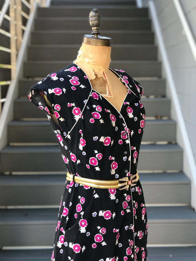 "1950s ""Betty Barclay"" Magenta Truffula Tree Dress"