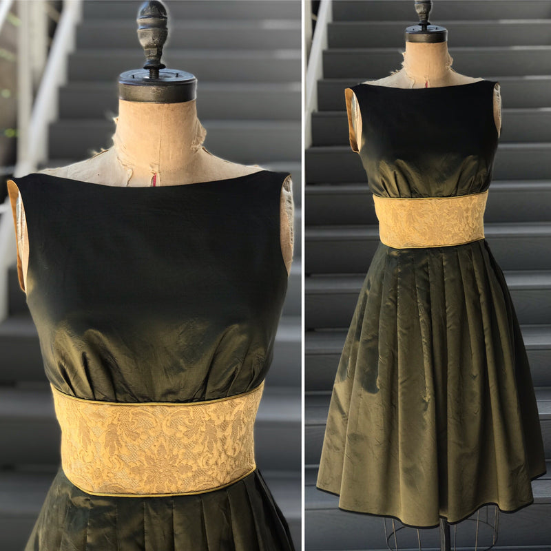 50s Reproduction Olive + Mustard Tapestry Party Dress