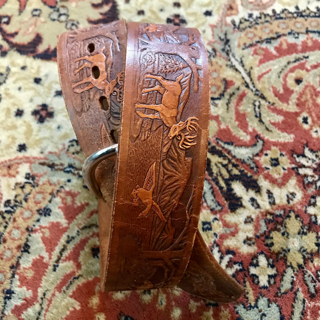*RESERVED* 1970s Tooled Woodland Forest Leather Belt