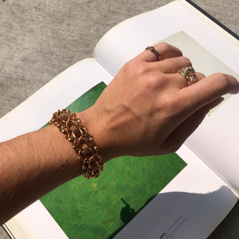 Gold Orbit Link Mesh Chain Bracelet