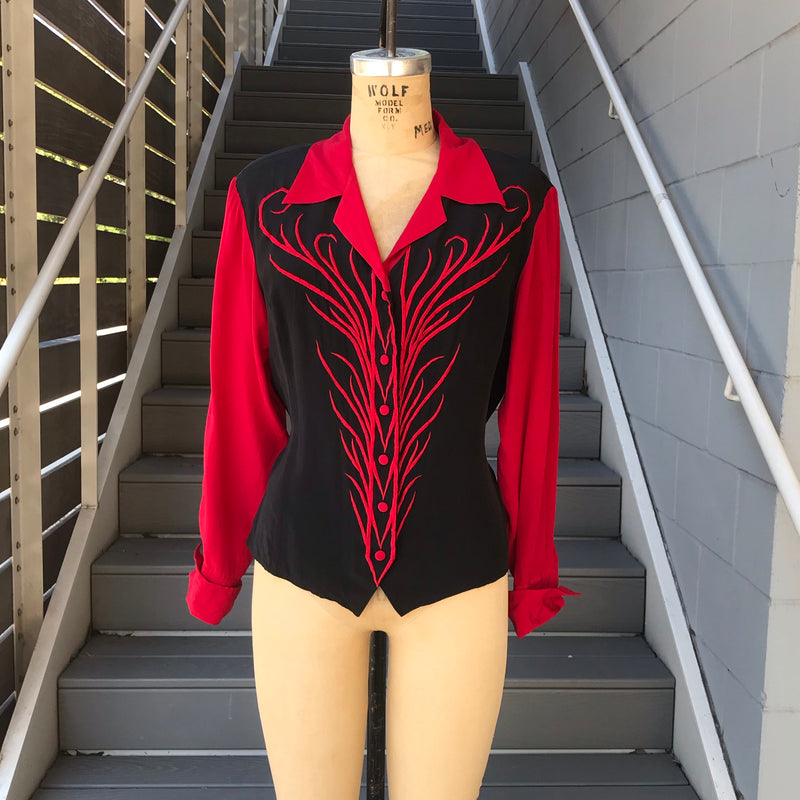 1980s Bob Mackie Wearable Art Red and Black Silk Blouse