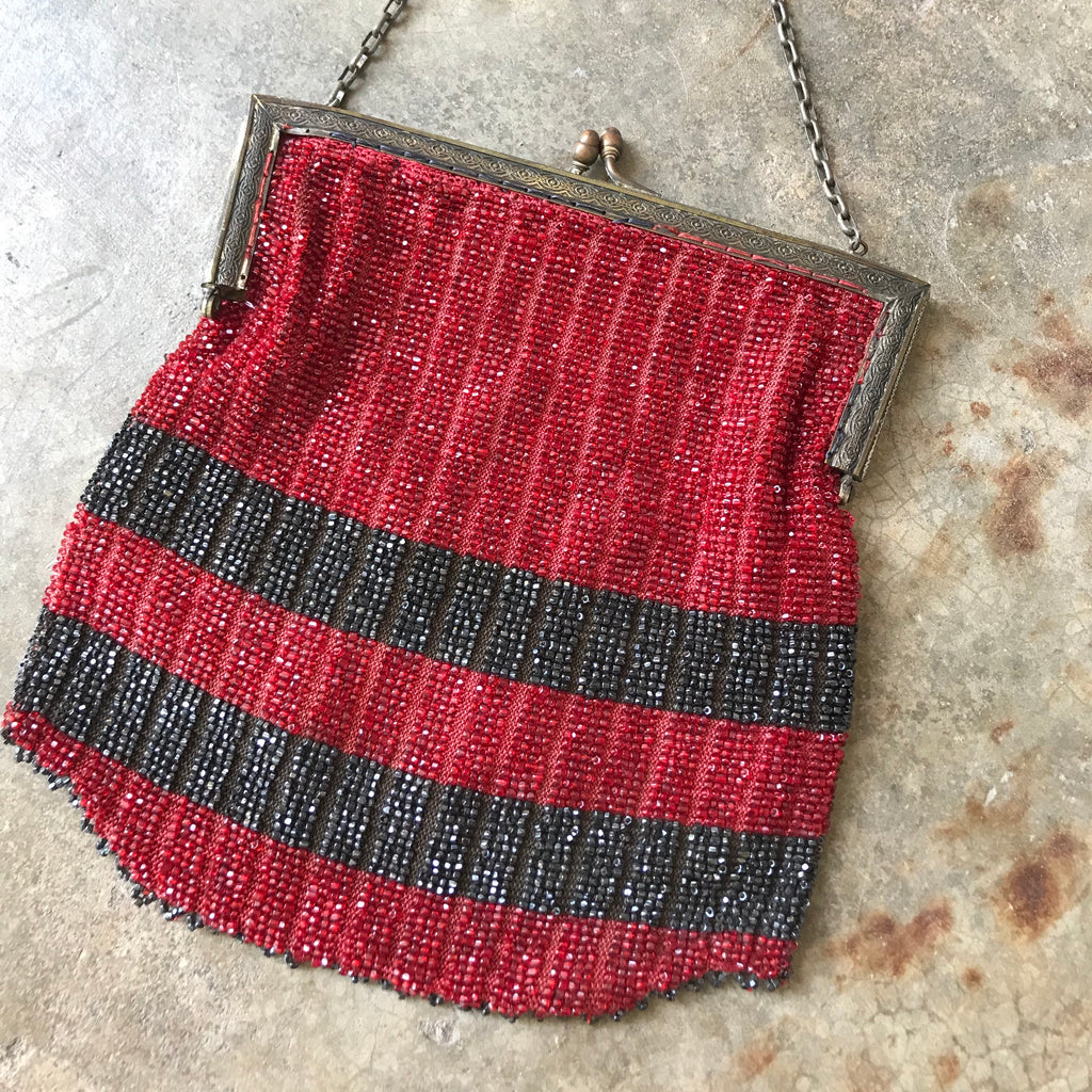1920s Red + Black Beaded Handbag