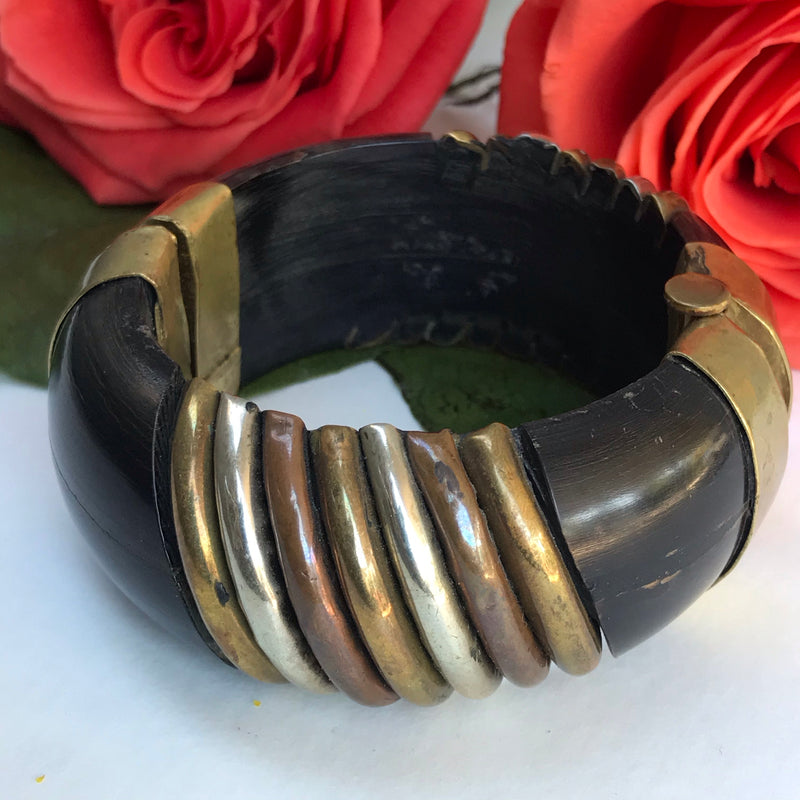 Indian Wood + Metal Pin Closure Bangle Bracelet
