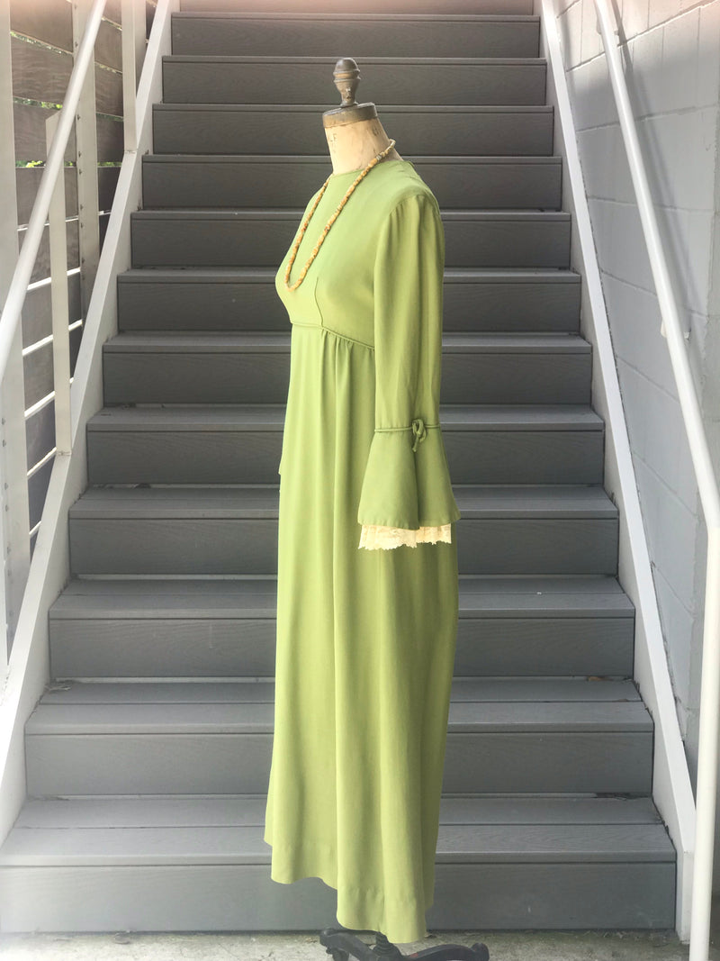 1970s Olive Green Lace Bell Sleeve Maxi Dress