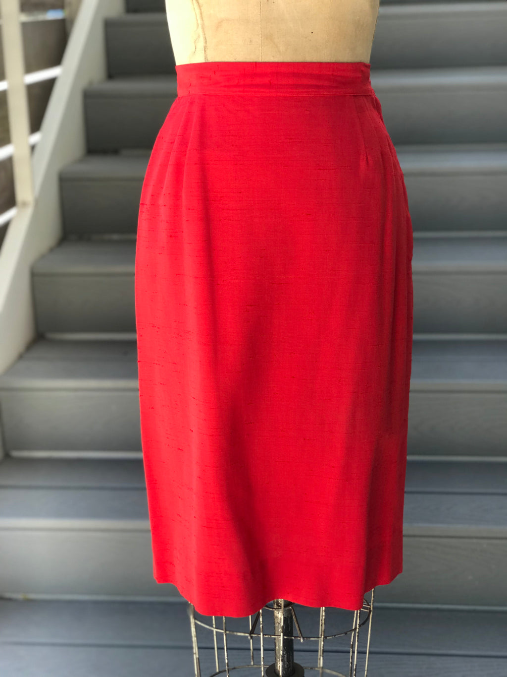 1950s Cherry Raw Silk Pencil Skirt