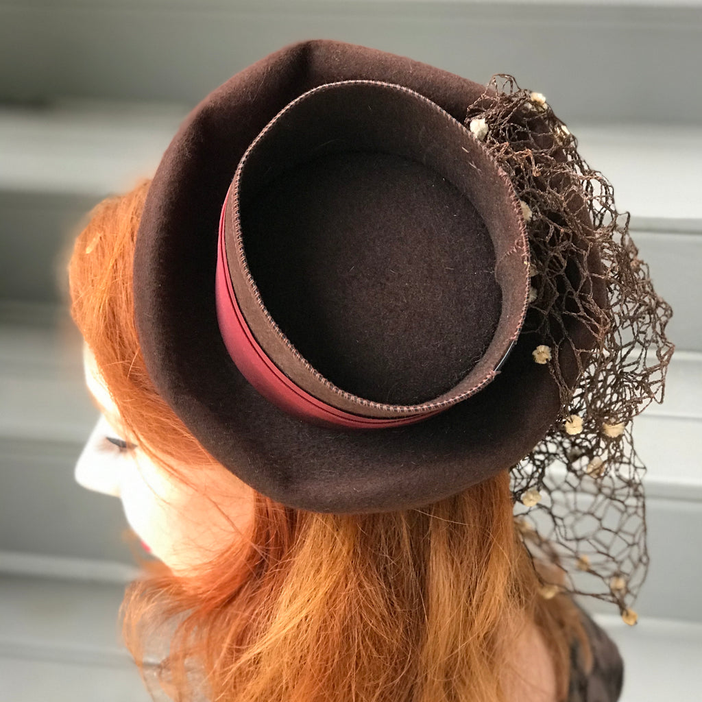 1940s Cottonwood Veil Topper Tilt Hat