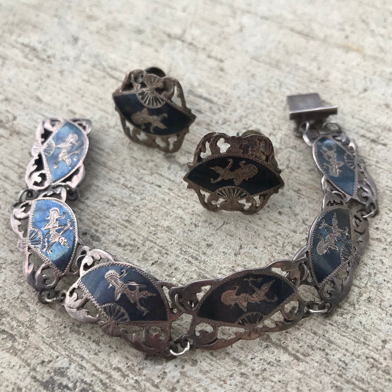 Siam Sterling Silver Bracelet and Clip Earring Set