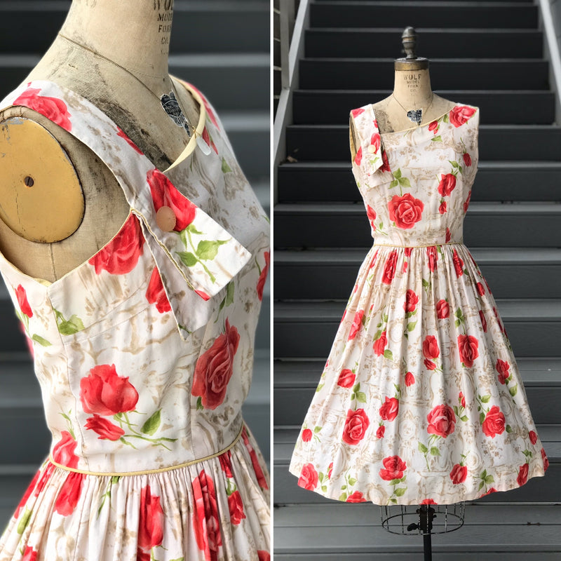"1950s ""Nelly Don"" Watercolor Illusionary Rose Dress"