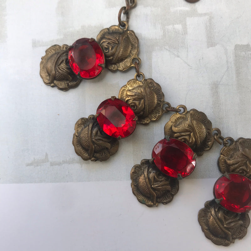 1920s Stamped Brass Roses + Red Rhinestone Necklace