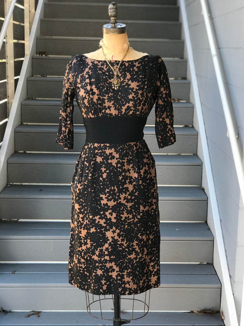 1950s Fawn + Floral Shadow Wiggle Dress